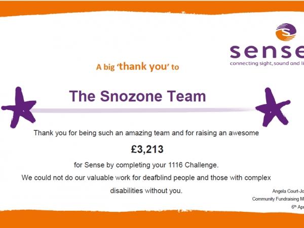 The Snozone 1116 Challenge for Sense